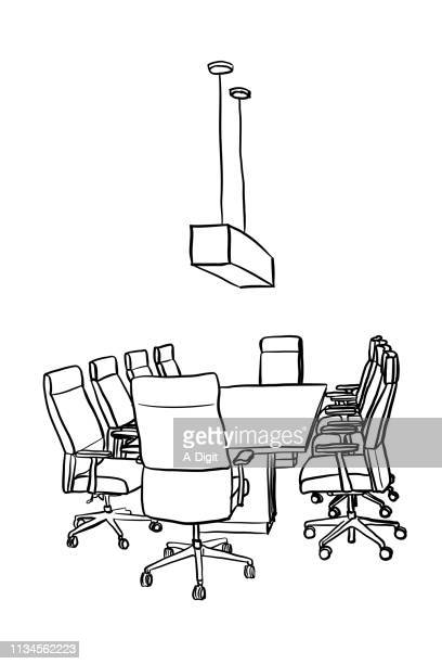 office boardroom empty - conference table stock illustrations, clip art, cartoons, & icons