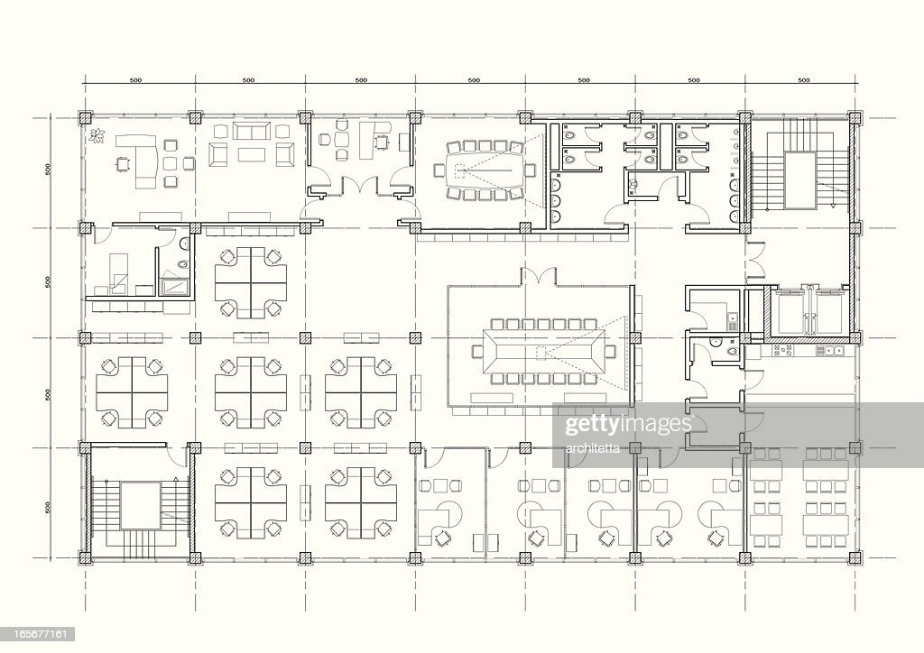Office Building Architectural Plan Vector Art Getty Images