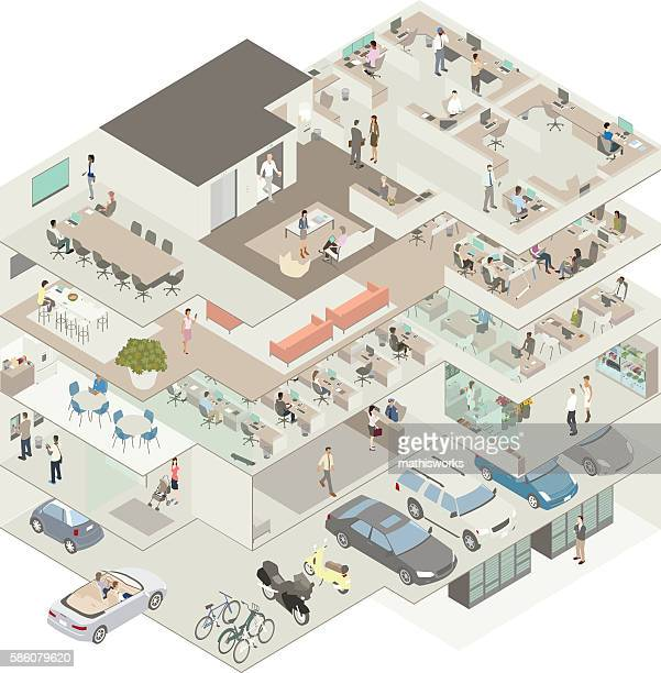 office building cutaway illustration - mathisworks vehicles stock illustrations