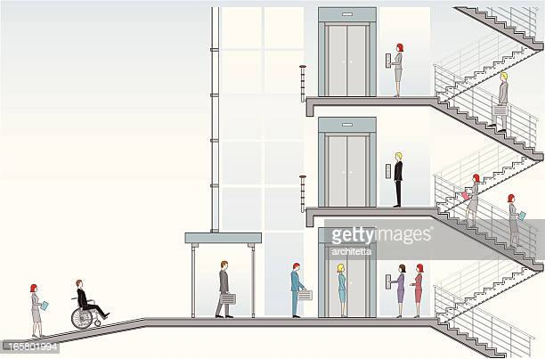 office building entrance ramp - elevator stock illustrations, clip art, cartoons, & icons