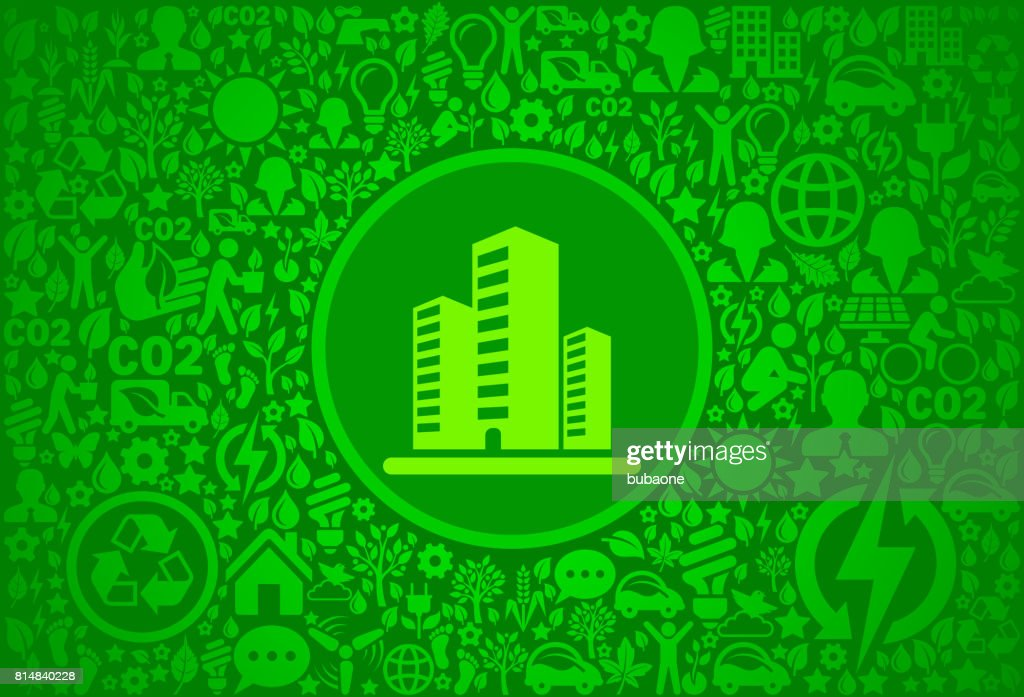Office Building Environment Green Vector Icon Pattern