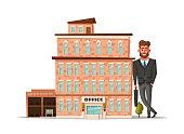 Office building facade. Buisness concept. Exterior of house. Cartoon vector illustration
