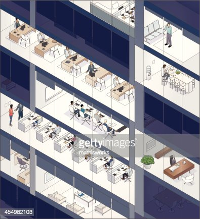 Office Building Facade with People
