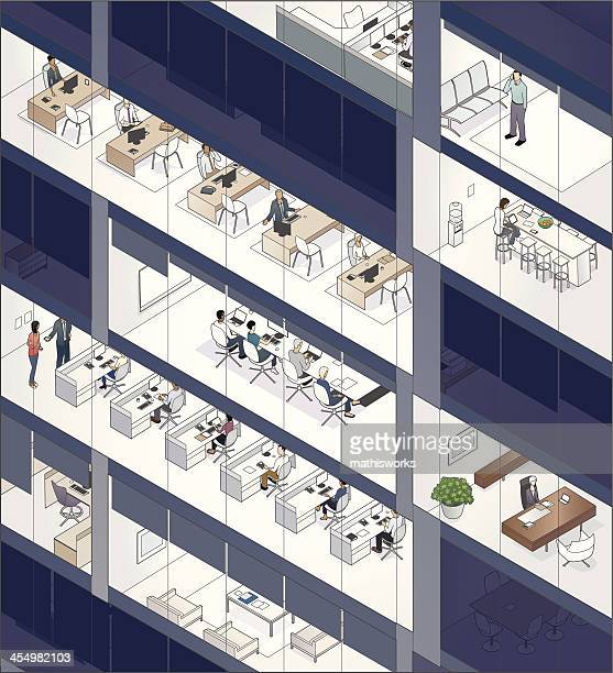 office building facade with people - mathisworks architecture stock illustrations