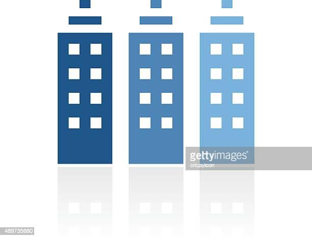 bürogebäude-symbol auf weißem hintergrund. royal-serie - gewerbeimmobilie stock-grafiken, -clipart, -cartoons und -symbole