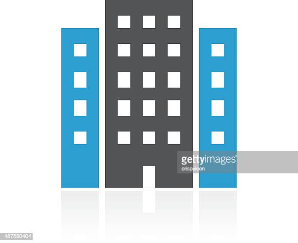 office building icon on a white background. - commercial real estate sign stock illustrations