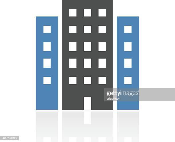 bürogebäude-symbol auf weißem hintergrund. - gewerbeimmobilie stock-grafiken, -clipart, -cartoons und -symbole