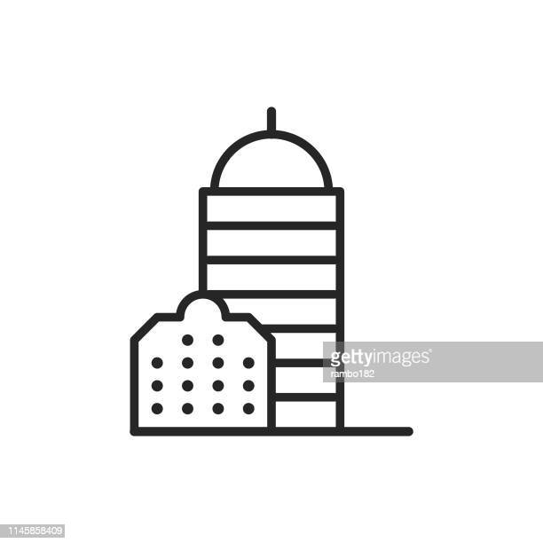 Office Building Line Icon. Editable Stroke. Pixel Perfect. For Mobile and Web.