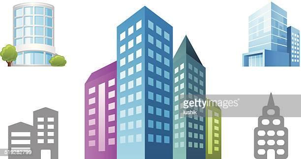 オフィスビルのオブジェクトのアイコン - 正面から見た図点のイラスト素材/クリップアート素材/マンガ素材/アイコン素材
