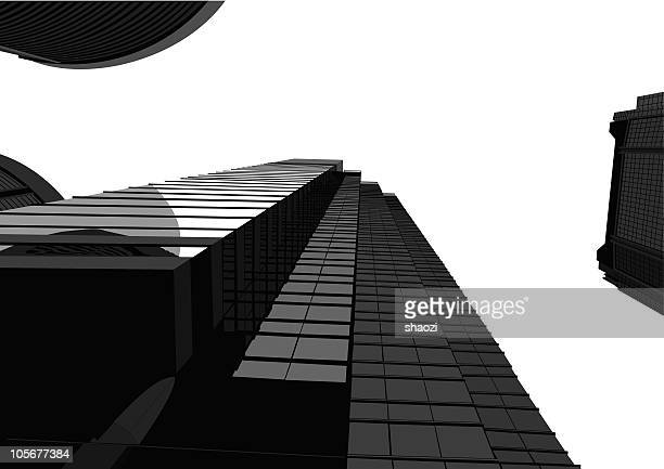 office building of city,hongkong - low angle view stock illustrations