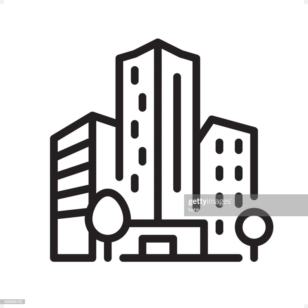 Office Building - Outline Icon - Pixel Perfect : Stock Illustration