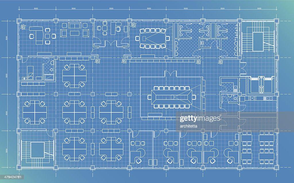 Office Building Plan Blueprint Vector Art