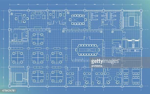 Edifício de escritórios plano blueprint
