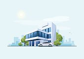 Office Building with Car and City Background
