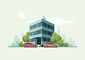 Office Building with Cars and City Background