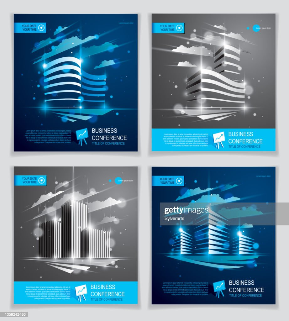 Office buildings brochures set, modern architecture vector flyers with blurred lights and glares effect. Real estate business center blue designs. 3D futuristic facades business conference templates.