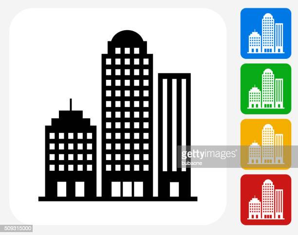 office buildings icon flat graphic design - skyscraper stock illustrations