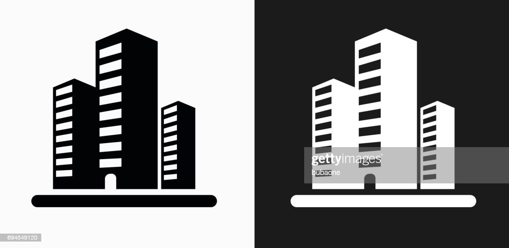 Office Buildings Icon On Black And White Vector Backgrounds stock vector | Getty Images