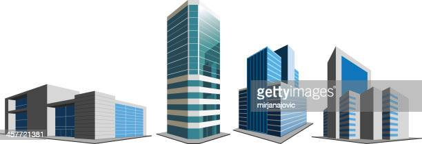 office buildings on white - skyscraper stock illustrations