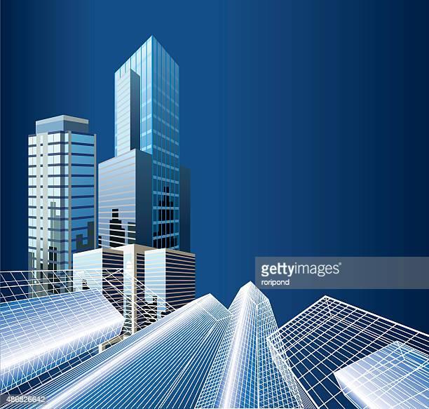 illustrations, cliparts, dessins animés et icônes de immeubles de bureaux - gratte ciel