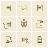 Office, business documents, files, folders vector thin outline icon set.