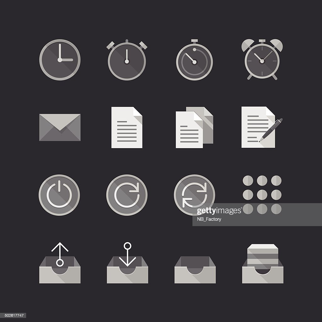 Office & Business Flat Style icons set