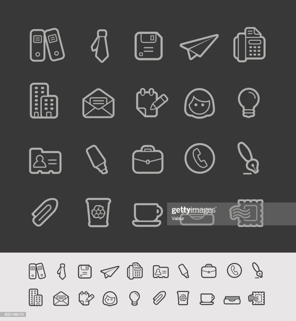 Office & Business Icons // Black Line Series