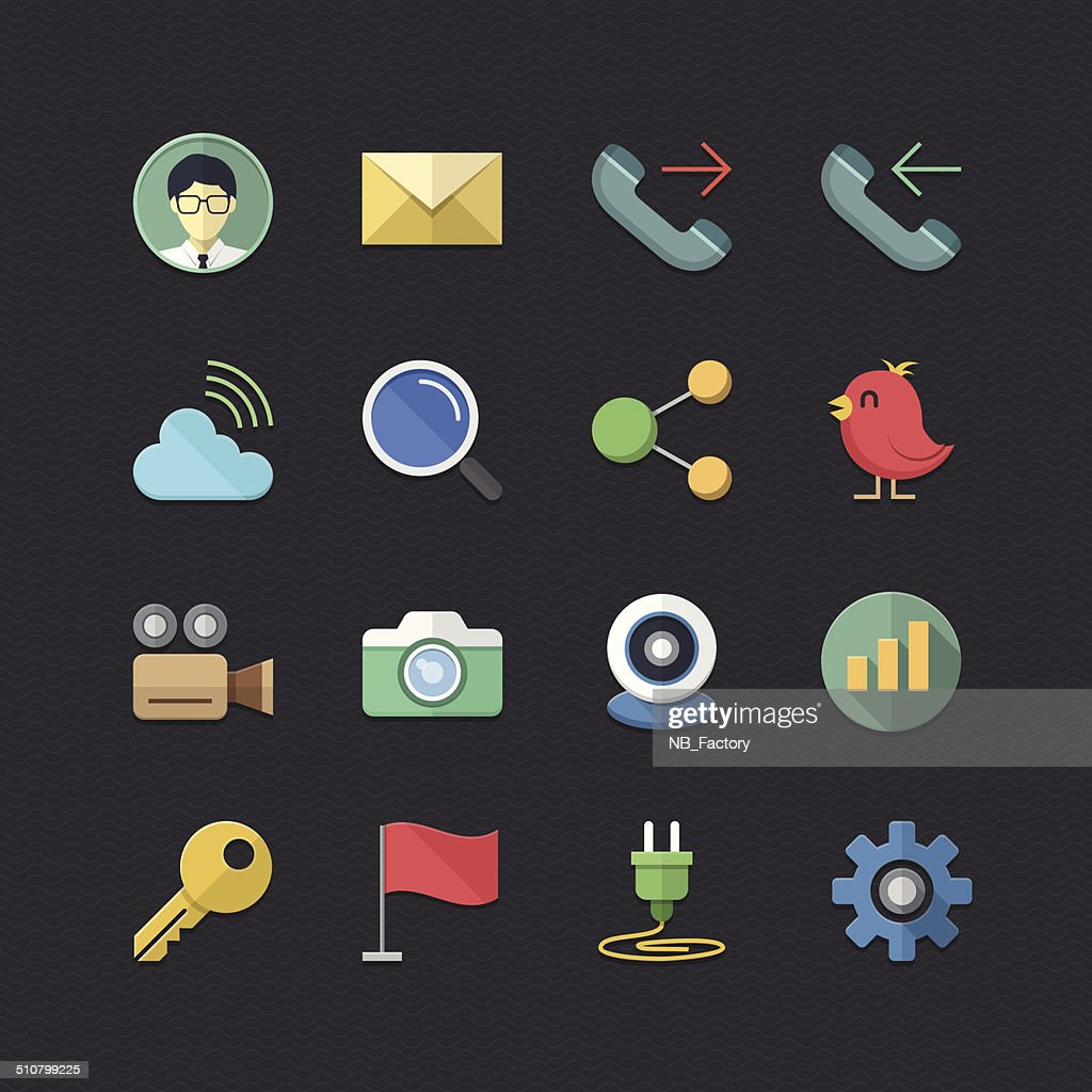 Office & Business icons set with Flat color style