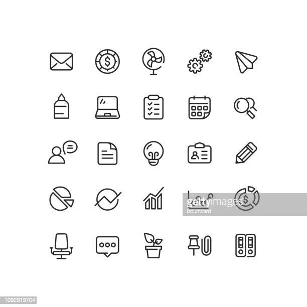 office & business outline icons - electric fan stock illustrations