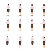Office business woman in various poses. Character vector illustration, flat design