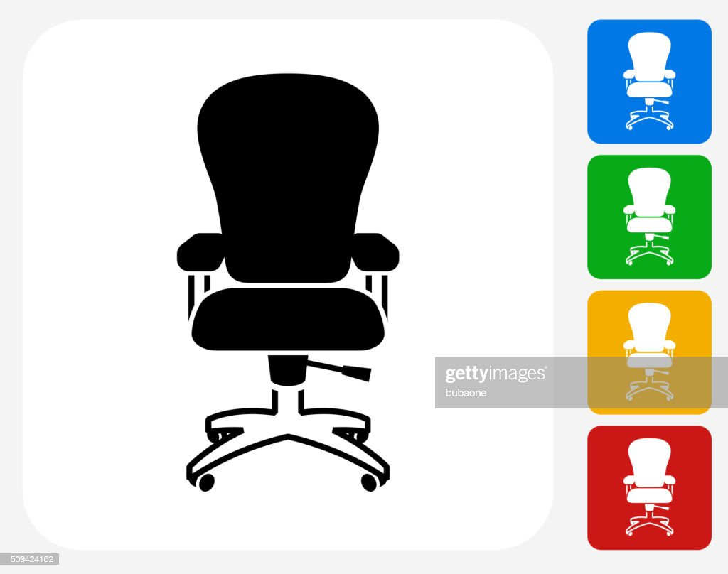 Office Chair Icon Flat Graphic Design Vector Art | Getty Images