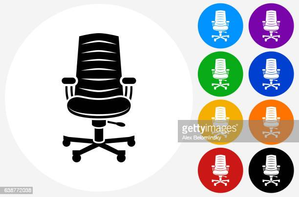 Office Chair Icon on Flat Color Circle Buttons