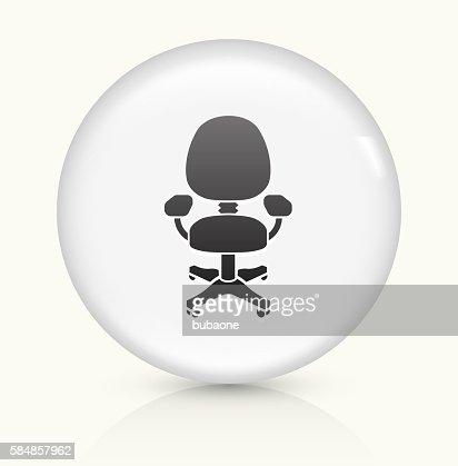 fauteuil de bureau ic ne sur un bouton vectoriel rond blanc clipart vectoriel getty images. Black Bedroom Furniture Sets. Home Design Ideas