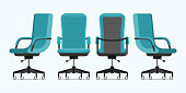 Office chair or desk chair in various points of view. Armchair or stool in front, back, side angles. Blue furniture for Interior in flat design.