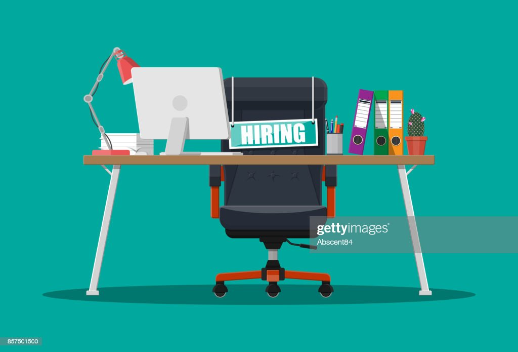 Office chair, sign vacancy, box with office itmes
