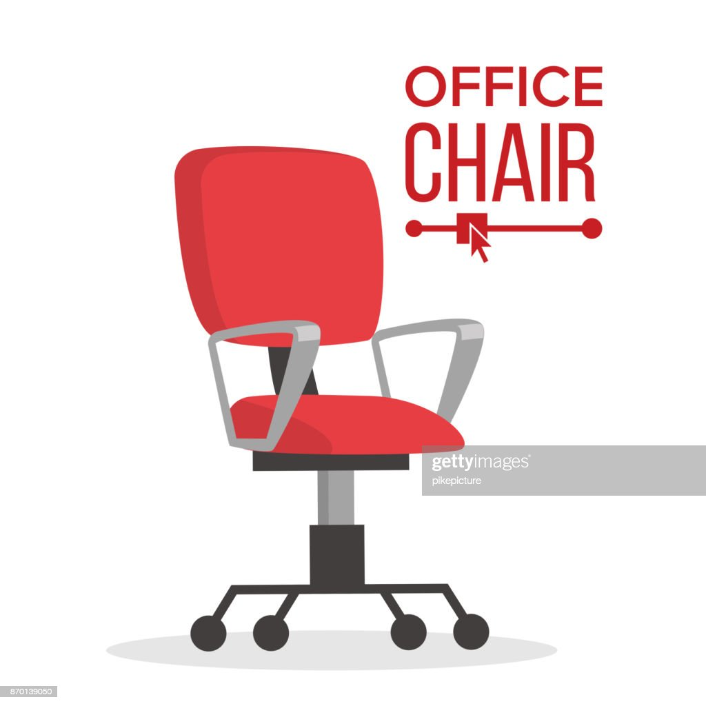 Office Chair Vector. Business Manager Empty Seat For Employee. Ergonomic Armchair For Executive Director. Furniture Icon Illustration