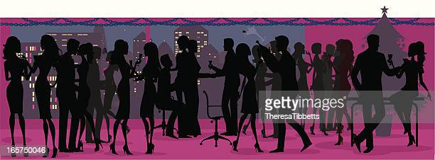 office christmas party silhouette - christmas travel stock illustrations, clip art, cartoons, & icons