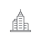 office city building, urban skyscraper thin line icon. Linear vector symbol