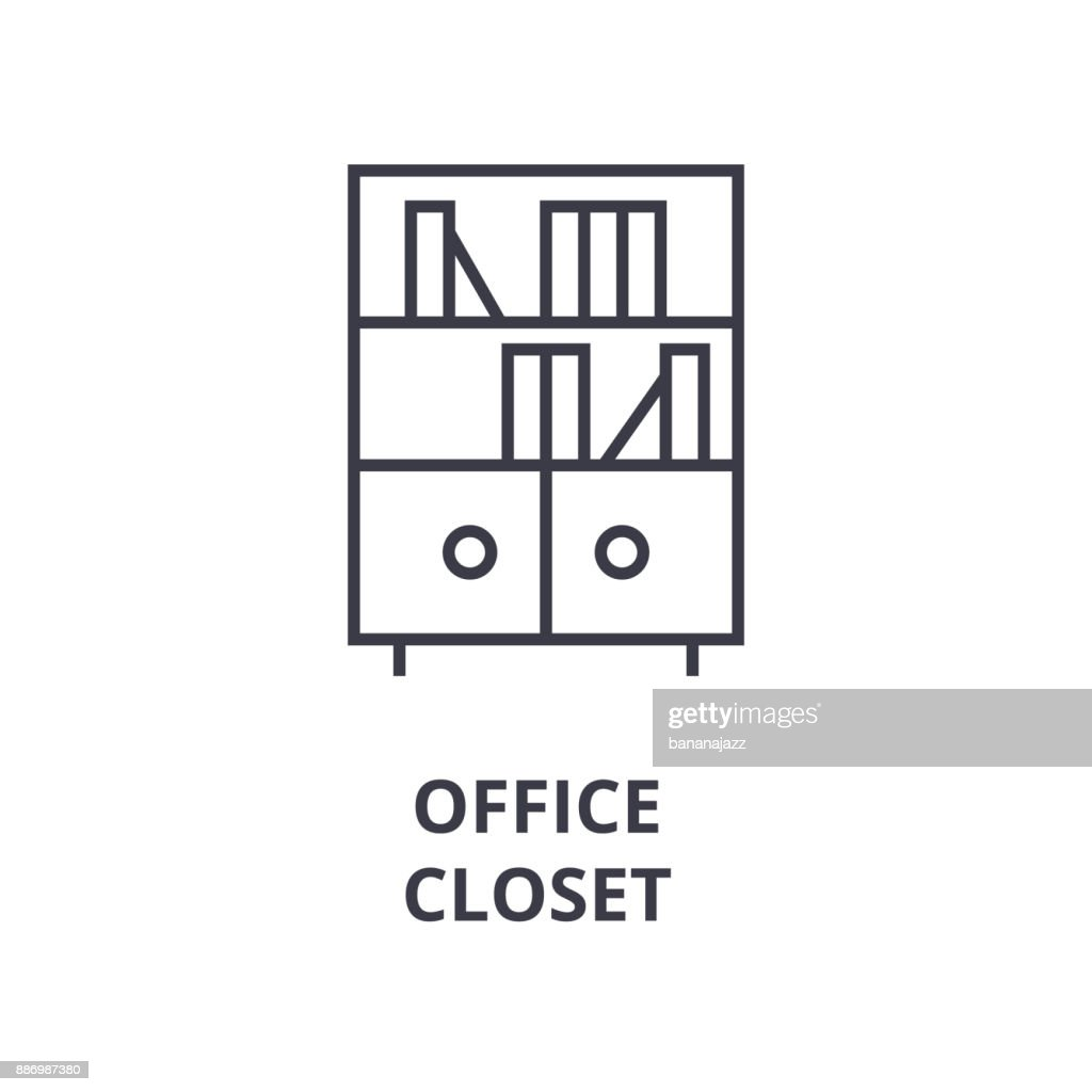 office closet line icon, outline sign, linear symbol, vector, flat illustration
