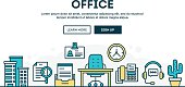 Office, colorful concept header, flat design thin line style