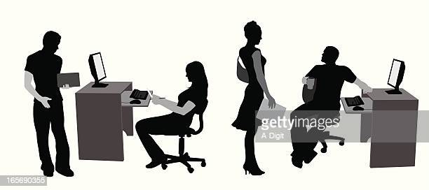 Office Computers Vector Silhouette