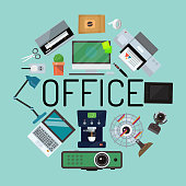 Office concept banner, poster vector illustration. Gadgets and tools for office work. Desktop computer, laptop, tablet, printer, coffee machine, lamp, projector, scanner, fan, cactus.