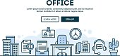 Office, concept header, flat design thin line style
