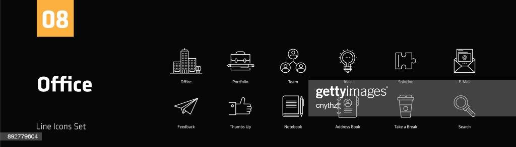 Office Concept Line Icons Set