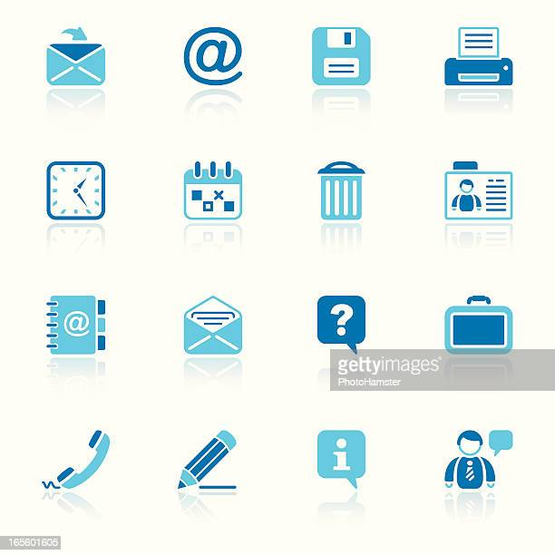 office & contacts icon set i sky reflection - wastepaper basket stock illustrations, clip art, cartoons, & icons