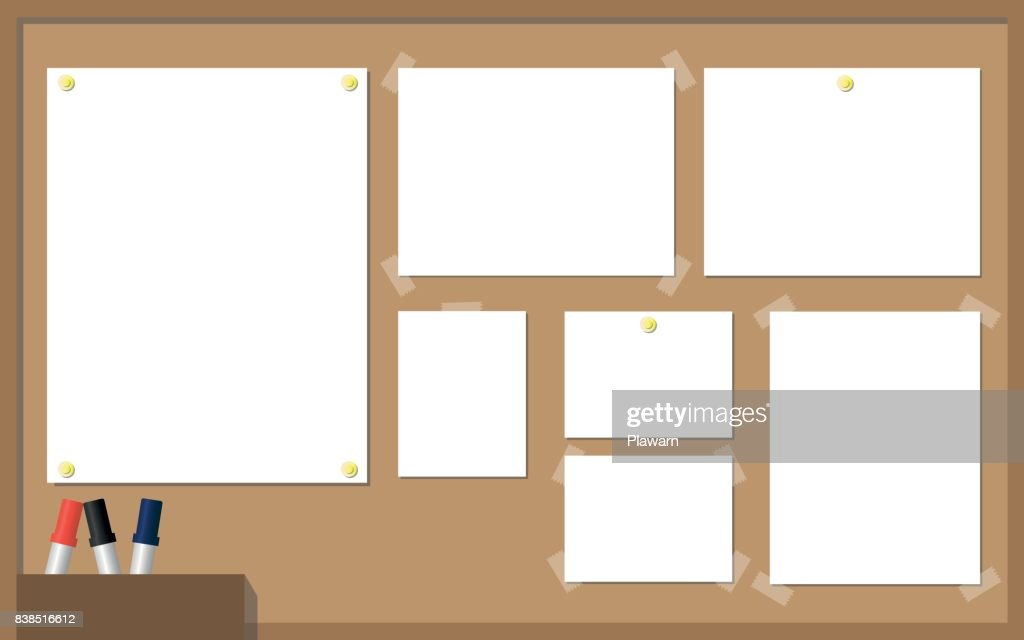 Office Cork Board With White Paper, Yellow Pins, Pens. Vector Illustration.