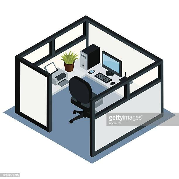 office cubicle - office cubicle stock illustrations, clip art, cartoons, & icons