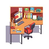 Office cubicle working desk with desktop computer