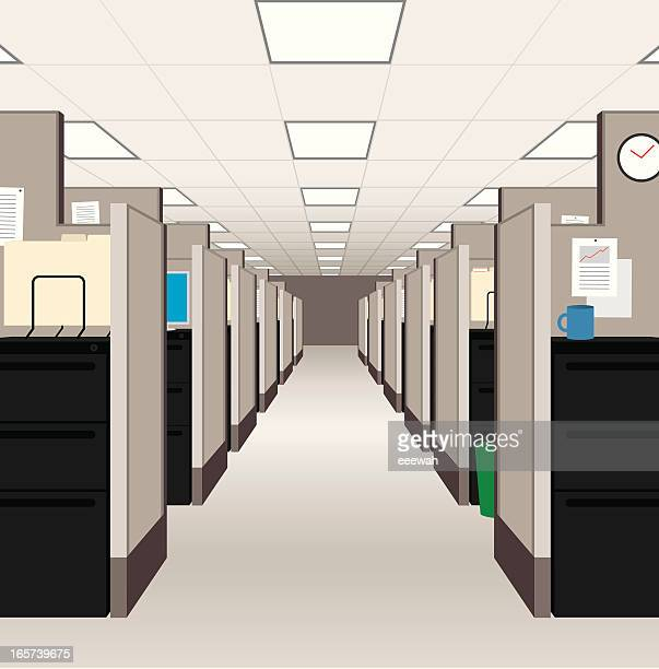 office cubicles - office cubicle stock illustrations, clip art, cartoons, & icons