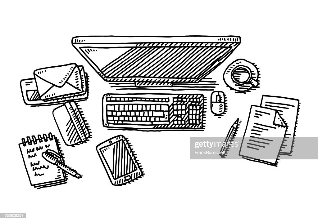 Drawing Lines In Office : Office desk computer drawing vector art getty images